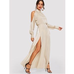 Champagne Open Shoulder M-Slit Maxi Dress